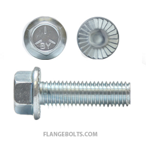 7/16-14X1 Hex Serrated Flange Screw Grade 5 Zinc