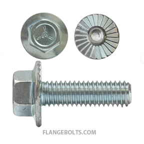 1/4-20X3/4 Hex Serr Large Flange Screw Grade 5 Zinc