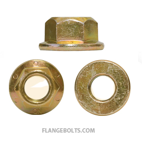 1/4-20 Hex Flange Locknut Grade G Zinc Yellow