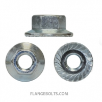 1/4-20 Large Serrated Hex Flange Nut Case Hard Zinc