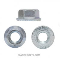 1/4-20 Hex Flange Serrated Nut Grade 5 Zinc