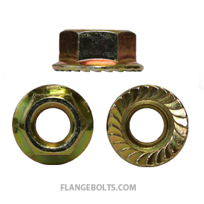 1/4-20 Hex Serrated Flange Nut Grade 8 Zinc Yellow