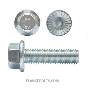 M8-1.25X16 Hex Serrated Flange Screw Class 8.8 Zinc
