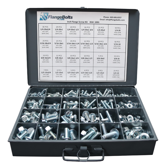 Inch Grade 5 Serrated Hex Flange Bolts & Lock Nuts Assortment - 410 PCS