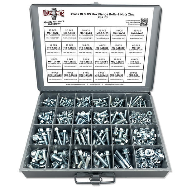 Metric Class 10.9 JIS Hex Flange Kit w/ Steel Tray - 401 Pcs