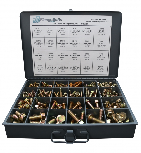 8 1//2-13 Gr.G Flange Lock Nuts 8 1//2-13x1 Grade 8 Hex Flange Screws Bolts /&