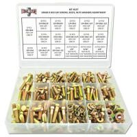 Grade 8  Hex Bolts, Nuts & Washers Kit w/ Plastic Tray - 380 Pcs