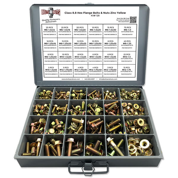 Metric Class 8.8 DIN Hex Flange Kit w/ Steel Tray - 409 Pcs
